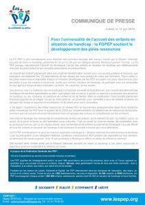 thumbnail of communiqué de presse PEP Fédé