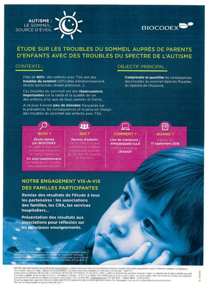 étude sur les troubles du sommeil dans le cadre des TSA