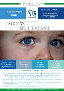 Formation Droits de l'Enfant avec PEP 2B Formation en direction des professionnels du médico-social, de la santé, de la petite enfance en mars 2020