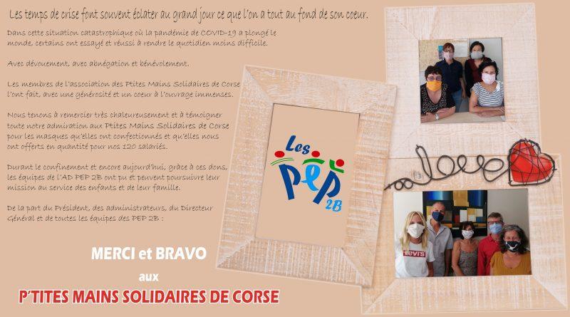 Les PEP 2B remercient vivement les PTITES MAINS SOLIDAIRES DE CORSE